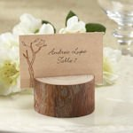 Rustic Real-Wood Place Card & Photo Holder (Set of 4)