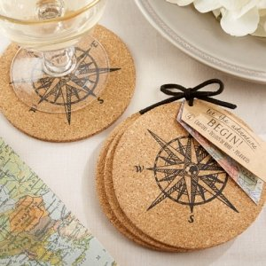 Let The Journey Begin Cork Coaster Favors Image