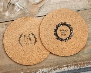 Personalized Rustic Charm Round Cork Coasters (Set of 12) image