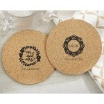 Personalized Romantic Garden Round Cork Coaster Favors (Set