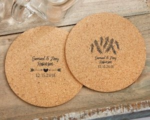 Personalized Winter Design Round Cork Coasters (Set of 12) image