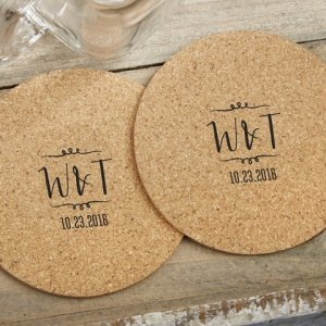 Personalized Vineyard Design Round Cork Coaster Favors (Set image