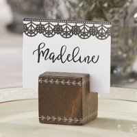 Romantic Garden Wood Cube Place Card Holder (Set of 6)