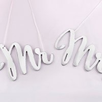 Silver Mirror Mr & Mrs Chair Signs
