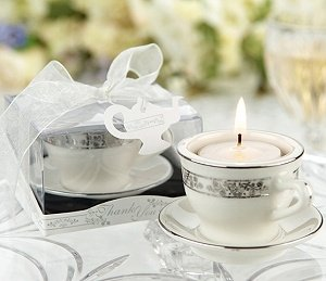 Miniature Teacup & Saucer Tealight Candle Holders image