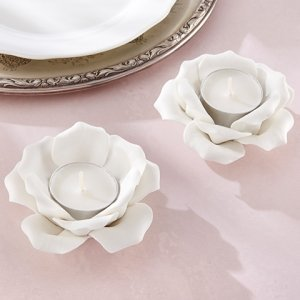 White Ceramic Rose Tea Light Holder (Set of 2) image