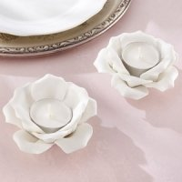 White Ceramic Rose Tea Light Holder (Set of 2)