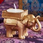 Lucky Elephant Golden Tealight Holder Indian Wedding Favors