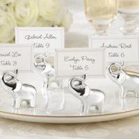 Silver Lucky in Love Elephant Place Card Holders (Set of 4)