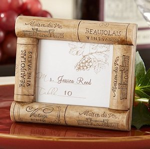 Vineyard Themed Wine Cork Place Card Frame image
