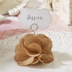 Burlap Rose Place Card Holder (Set of 6) image