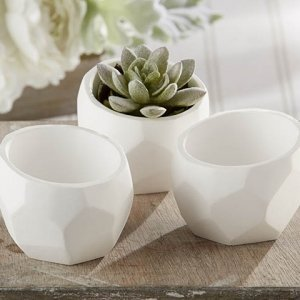 Modern Garden Geometric White Planter (Set of 4) image