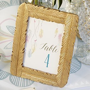 Gilded Gold Feather Large Frame Favor image