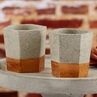 Copper and Concrete Geometric Tealight Holder (Set of 4)