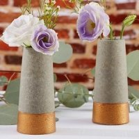 Copper and Concrete Bud Vase (Set of 4)