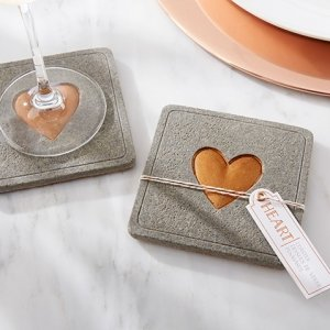 Copper Heart Concrete Coaster Favors image
