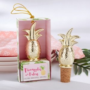 Gold Pineapple Bottle Stopper Favors image