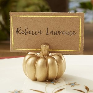 Gold Pumpkin Place Card Holder - Set of 6 image