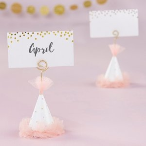 Pink Party Hat Place Card Holder (Set of 6) image