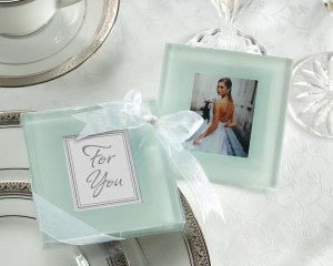 Forever Photo Frosted Glass Coaster Set image