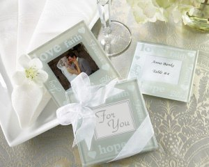 Wedded Bliss Glass Photo Coasters image