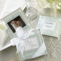 Wedded Bliss Glass Photo Coasters