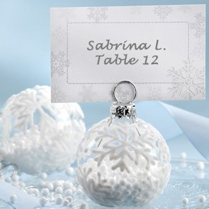 Flocked Glass Snowflake Ornament Placecard Holder (Set of 6) image