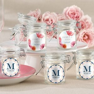 Personalized Botanical Design Glass Favor Jars (Set of 12) image