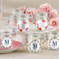 Personalized Botanical Design Glass Favor Jars (Set of 12)