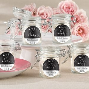 Personalized Mr. & Mrs. Glass Favor Jars (Set of 12) image