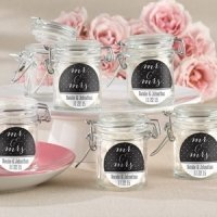 Personalized Mr. & Mrs. Glass Favor Jars (Set of 12)