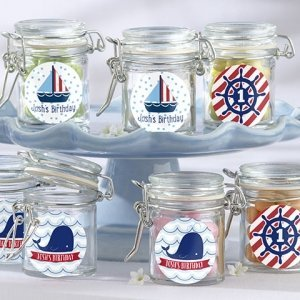 Personalized Nautical Birthday Glass Favor Jars (Set of 12) image