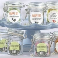 Personalized Woodland Birthday Glass Favor Jars (Set of 12)