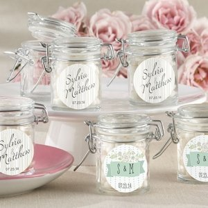 Rustic Theme Personalized Glass Favor Jars (Set of 12) image