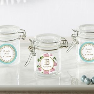 Personalized Tea Time Glass Favor Jars (Set of 12) image