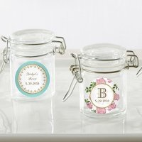 Personalized Tea Time Glass Favor Jars (Set of 12)