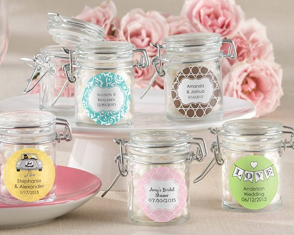 personalized glass wedding favor jars set of 12
