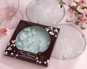 Cherry Blossom Glass Coaster Favors (Set of 2) image