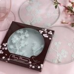 Cherry Blossom Glass Coaster Favors (Set of 2)