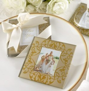 Golden Brocade Photo Glass Coasters (Set of 2) image