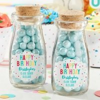 Personalized Happy Birthday Milk Jar (Set of 12)
