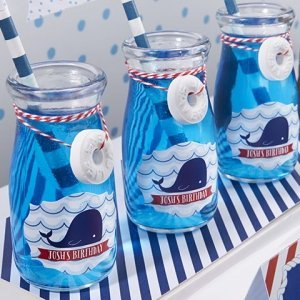 Personalized Nautical Milk Jar Birthday Favors (Set of 12) image