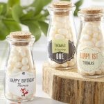 Personalized Woodland Theme Milk Jar Favors (Set of 12)