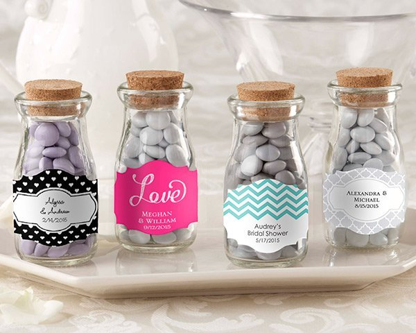 Personalized Vintage Wedding Favor Glass Bottles Set Of 12