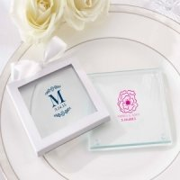 Personalized Botanical Design Glass Coasters (Set of 12)