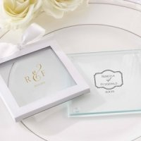 Personalized Classic Glass Coaster Wedding Favor (Set of 12)