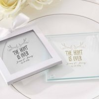 Personalized 'The Hunt is Over' Glass Coaster Favors