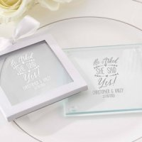 Personalized 'He Asked She Said Yes' Glass Coasters