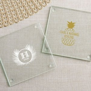 Personalized Tropical Chic Glass Coaster Favors (Set of 12) image
