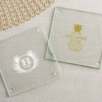 Personalized Tropical Chic Glass Coaster Favors (Set of 12)